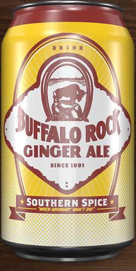 The front of a can of Buffalo Rock Ginger Ale