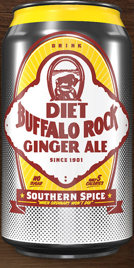 The front of a can of Diet Buffalo Rock Ginger Ale