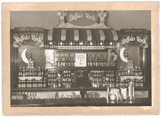 A drugstore soda fountain circa 1900 selling Buffalo Rock Ginger Ale
