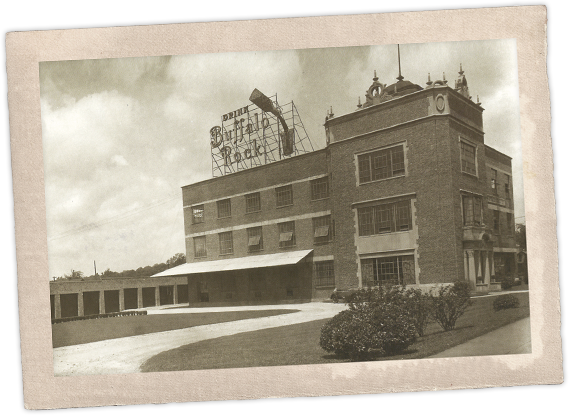 Buffalo Rock Company's Northside bottling plant, with its iconic Drink Buffalo Rock sign