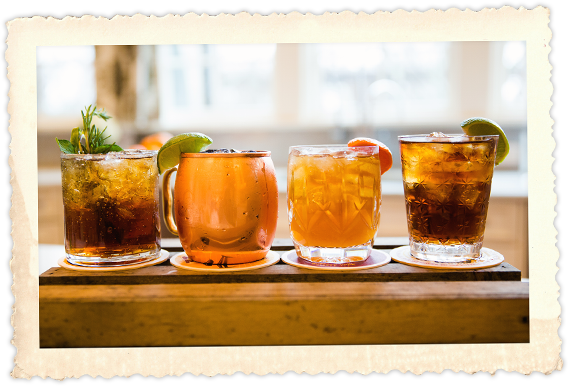 A row Buffalo Rocktails: Iron Jack, Magic City Mule, Yard Dog and Dark and Spicy